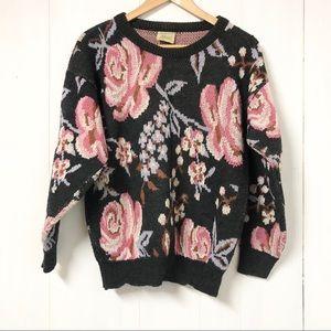 Vintage Floral Knit Sweater